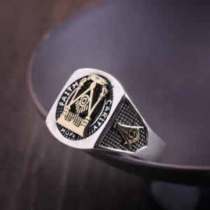 Sterling Silver High Polishing Masonic Ring