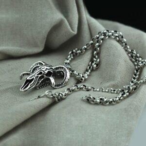 Men's Sterling Silver Sheep Bone Skull Pendant Necklace