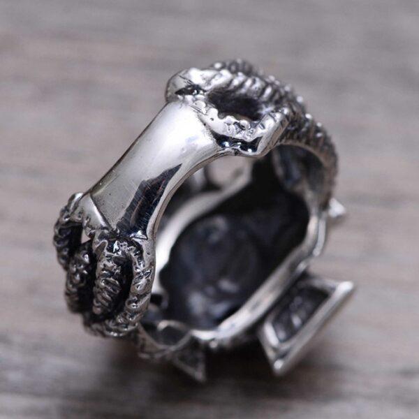 Sterling Silver Snake Cross Ring