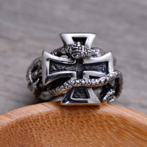 Sterling Silver Snake Cross Ring