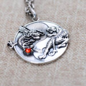 Silver Dragon & Tiger Pendant Necklace