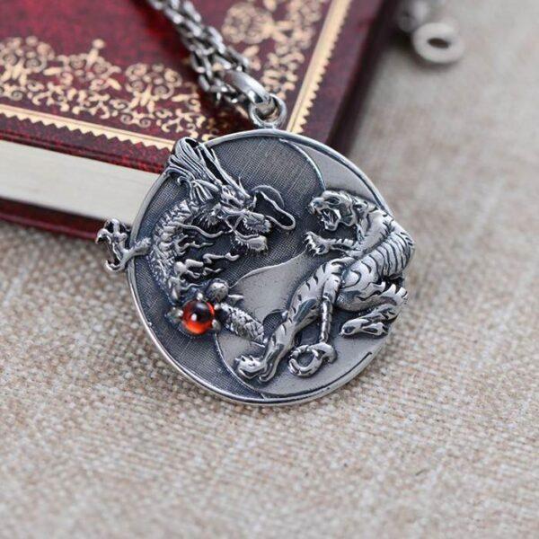 Silver Dragon & Tiger Pendant Necklace