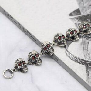 Silver Skull Beaded Bracelet