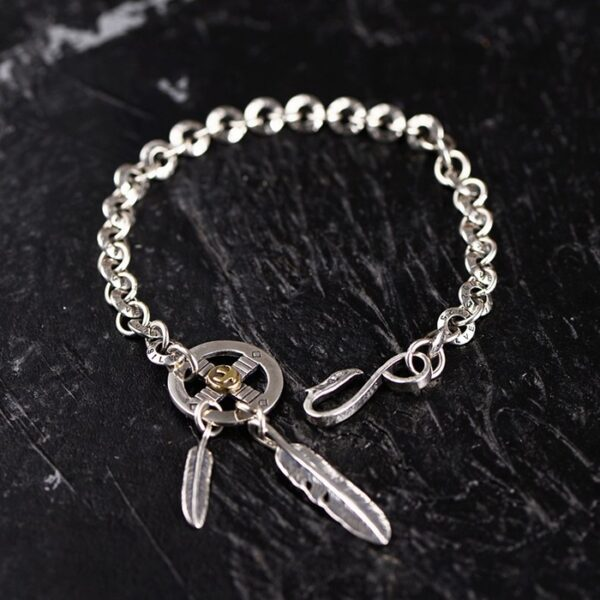 Sterling Silver Disc Feather Chain Bracelet