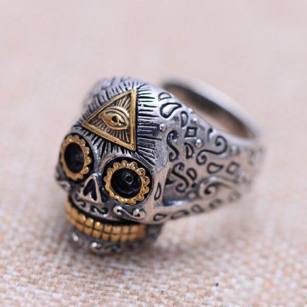 Sterling Silver Eye Of Providence Skull Ring