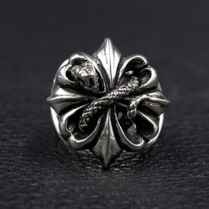 Sterling Silver Cross Snake Ring
