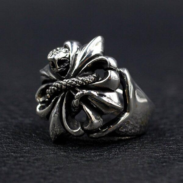 Sterling Silver Cross Snake Ring