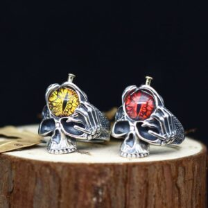 Men's Sterling Silver Eye Of Sauron Skull Ring