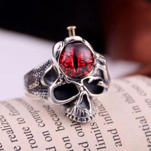 Sterling Silver Eye Of Sauron Skull Ring