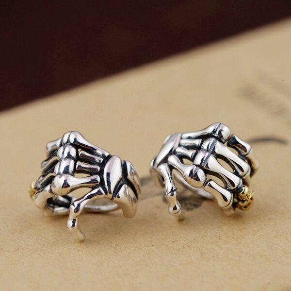 Sterling Silver Skeleton Hand Earrings