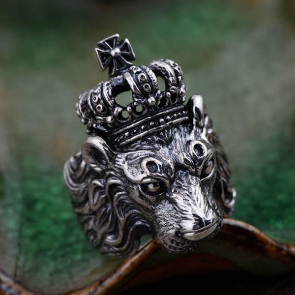 Silver Lion Head Crown Ring