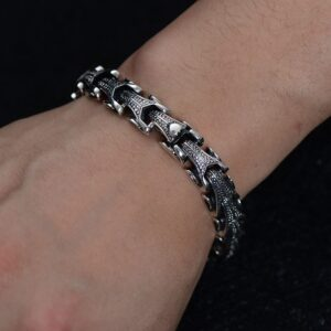 Silver Sheep Head Beaded Bracelet