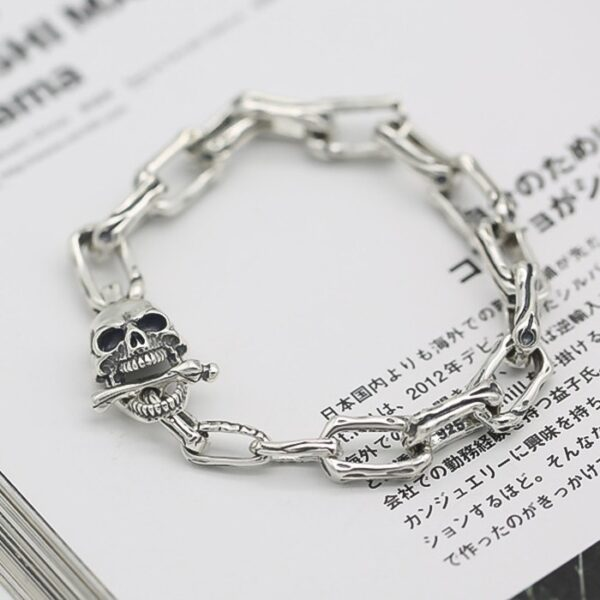 Sterling Silver Skull Chain Bracelet