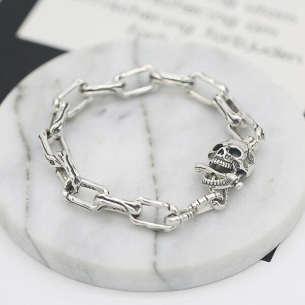 Men's Sterling Silver Skull Chain Bracelet