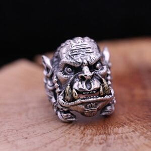Men's Sterling Silver Warcraft Orc Ring