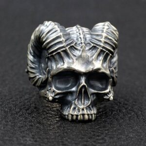 Satanic Horned Devil Skull Ring