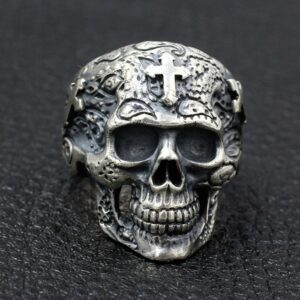 Silver Skull Ring With Cross