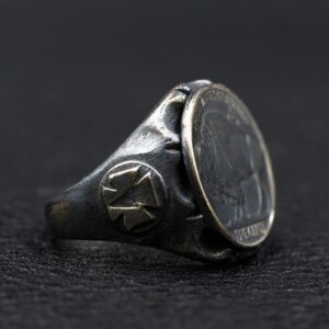 Sterling Silver American Bison Buffalo Nickel Coin Ring