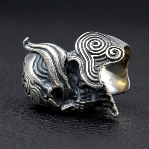 Sterling Silver Crusader Knight Warrior Skull Ring