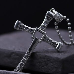 Men's Sterling Silver Fast & Furious 8 Cross Necklace