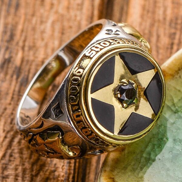 Sterling Silver Large Pentagram Agate Ring