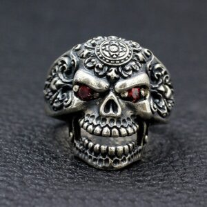Mens Sterling Silver Orangutan Skull Ring