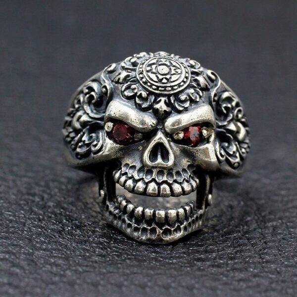 Mens Sterling Silver Orangutan Skull Ring