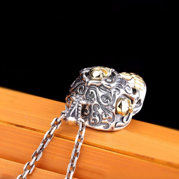 Men's Sterling Silver Sugar Skull Pendant Necklace