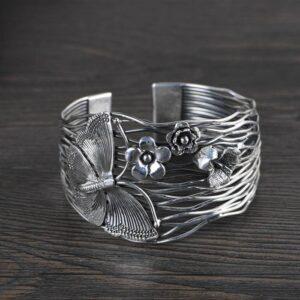 Silver Butterfly Flower Cuff Bracelet