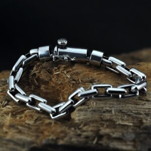 Sterling Silver Rectangle Link Chain Bracelet
