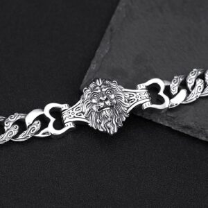 Sterling Silver Lion Curb Chain Bracelet