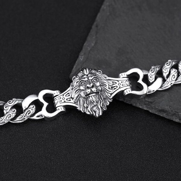 Men's Sterling Silver Lion Curb Chain Bracelet