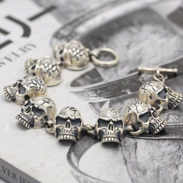 Sterling Silver Cracked Head Skull Links Bracelet