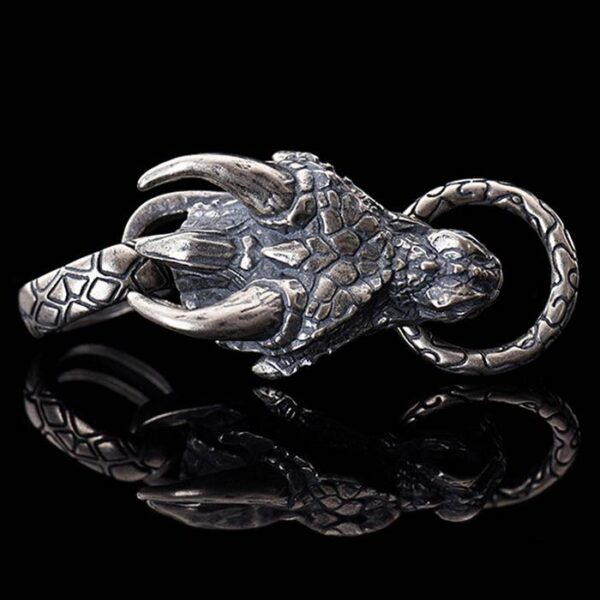 Sterling Silver Dragon Head Pendant Necklace