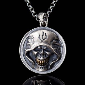 Sterling Silver Grim Reaper Skull Pendant Necklace