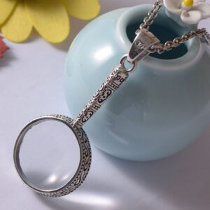 Sterling Silver Magnifying Glass Pendant Necklace
