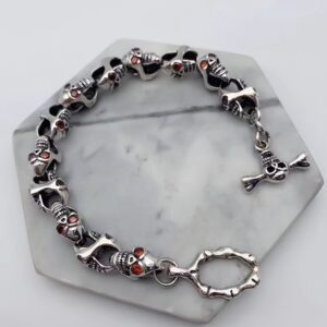 Sterling Silver Red Eye Zircon Skull Bracelet