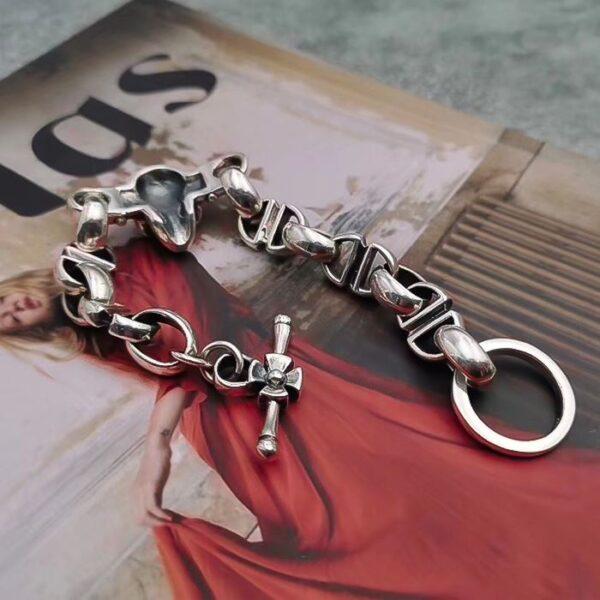 Sterling Silver Skull Marina Chain Bracelet