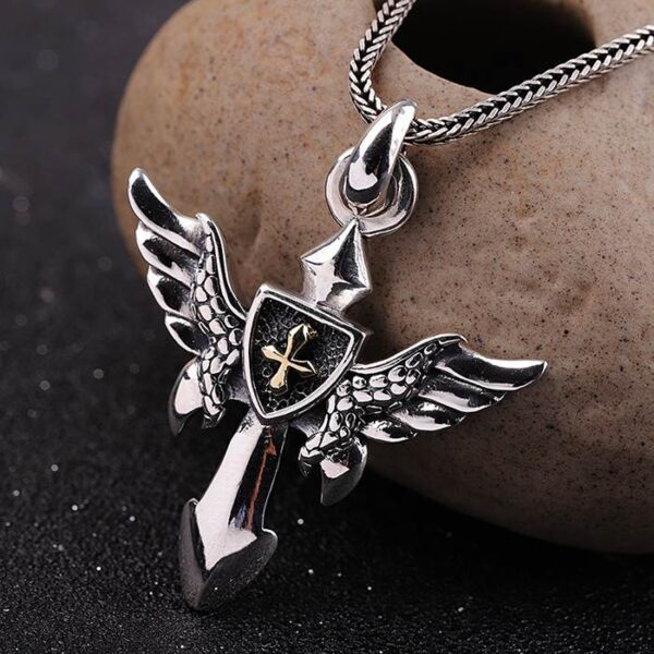 Angel Wings Cross Shield Pendant Necklace