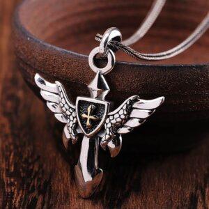 Angel Wings Cross Shield Pendant Necklace