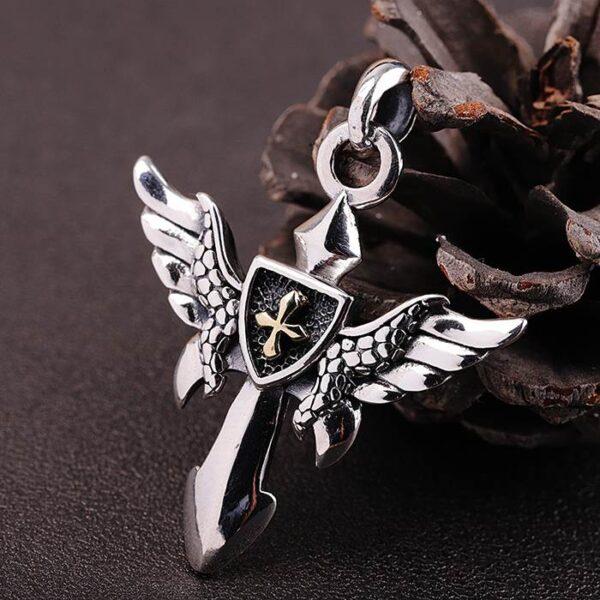 Angel Wings Cross Shield Pendant