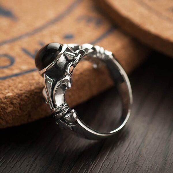 Black Onyx Fleur De Lis Silver Ring