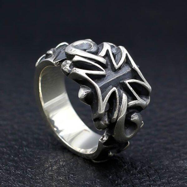 Men's Sterling Silver Iron Cross Ring