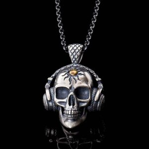 Silver Skull Pendant Necklace With A Headset