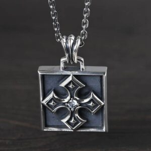 Sterling Silver Cross Amulet Pendant Necklace