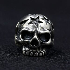 Sterling Silver Jawless Star Skull Ring
