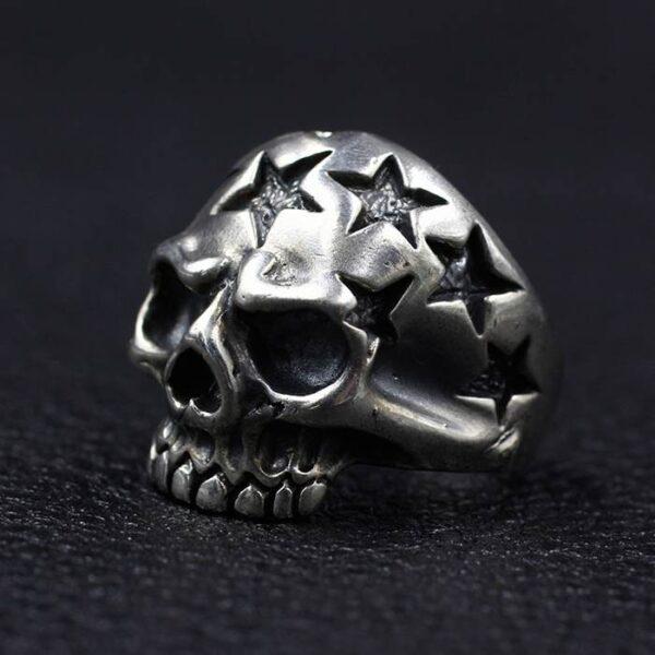 Sterling Silver Jawless Star Skull Ring