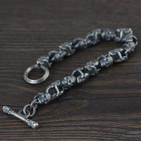 All Double Skull Link Bracelet