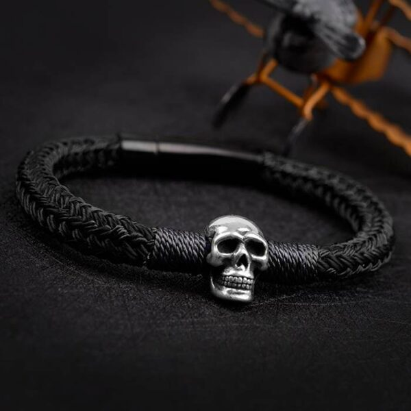 Black Braided Rope Skull Charm Bracelet