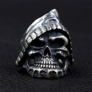 Black Sterling Silver Grim Reaper Biker Skull Ring - vvvjewelry